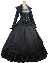 Old European Style One-Piece/Dress Classic/Traditional Lolita Vintage Inspired Cosplay Lolita Dress Black Floor-length Dress For Women Cotton