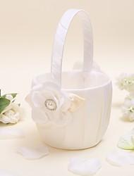 """Недорогие -Цветочная корзина атласная 9 """"(23 см) искусственная жемчужина 1 свадебная церемония красивая"""