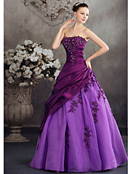 Ball Gown Princess Strapless Floor Length Taffeta Formal Evening Dress with Beading Appliques Side Draping by XFLS