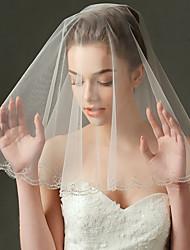 Uma Camada Borda Enfeitada Véus de Noiva Véu Cotovelo Com Pérola Tule