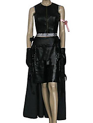 Inspireret af Final Fantasy Tifa Lockhart video Spil Cosplay Kostumer Cosplay Suits Ensfarvet Sort Ærmeløs Top / Skjørte / Shorts