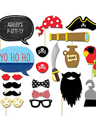 20PCS Pirates Baby Shower Card Paper Photo Booth Props Party Fun Favor