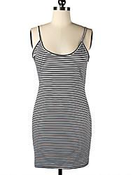Damen Kleid - Bodycon Sexy / Party / Arbeit / Leger / Strand Gestreift / Einfarbig Mini Acryl / Polyester / Baumwoll-MischungGurt /