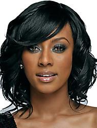abordables -Pelucas sintéticas Ondulado Corte Bob / Con flequillo Pelo sintético Naturaleza Negro Peluca Mujer Media Sin Tapa