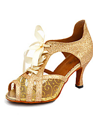 Women's Dance Shoes Salsa Leatherette / Sparkling Glitter Stiletto Heel Black / White / Gold