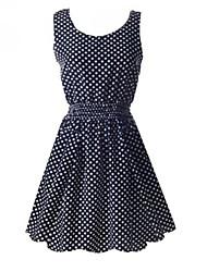 billige -Dame Vintage A-linje Kjole - Prikker, Flettet Over knæet