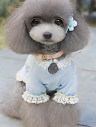 cheap -Dog Dress Dog Clothes Bowknot Blue Pink Terylene Costume For Pets Women's Fashion Wedding