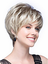 abordables -Pelucas sintéticas Recto Pelo sintético Blanco Peluca Mujer Sin Tapa