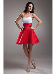 cheap -A-Line Fit & Flare Sweetheart Short / Mini Organza Cocktail Party Prom Dress with Beading by TS Couture®