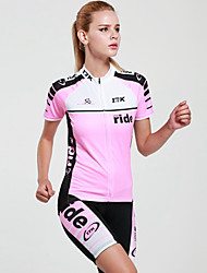 cheap -Mysenlan Women's Short Sleeve Cycling Jersey with Shorts - Pink Bike Clothing Suit, Quick Dry, Ultraviolet Resistant, Breathable Polyester / Advanced Sewing Techniques / Italy Imported Ink