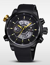 WEIDE Pánské Náramkové hodinky Křemenný Japonské Quartz LCD Kalendář Chronograf Voděodolné Hodinky s dvojitým časem poplach Pryž Kapela