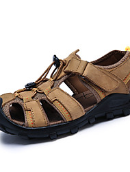 cheap -Men's Shoes Nappa Leather Summer Comfort Sandals Water Shoes Magic Tape for Outdoor Dark Brown Khaki Dark Green