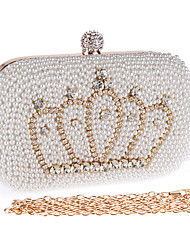 cheap -Women Bags Polyester Evening Bag Imitation Pearl Crystal/ Rhinestone for Wedding Event/Party Formal Office & Career All Seasons White