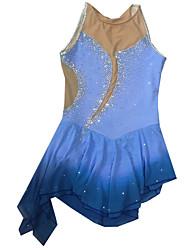 Robe de Patinage Artistique Femme Fille Robe de Patinage Bleu Elasthanne Mode Utilisation Fait à la main Sans Manches Tenue de Patinage