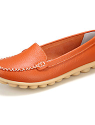 cheap -Women's Shoes Leather Spring Summer Fall Winter Comfort Flat Heel For Casual Orange Yellow Brown Khaki Burgundy