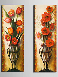 cheap -E-HOME® Stretched Canvas Art Red Flowers In A Vase Decoration Painting  Set of 2