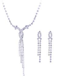 Feminino Conjunto de Jóias Colar / Brincos Casamento Festa Pedras preciosas sintéticas Prata de Lei Zircão Imitações de Diamante Brincos
