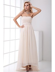 cheap -A-Line Strapless Asymmetrical Chiffon Prom Formal Evening Dress with Beading Draping by XFLS
