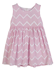 cheap -Girls' Daily Striped Dress, Cotton Summer Sleeveless Stripes Pink Light Blue