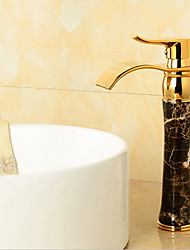 Soild Brass Gold Finish Marble Stone Body Single Handle Cold and Hot Water Tap Bathroom Waterfall Bain Faucet