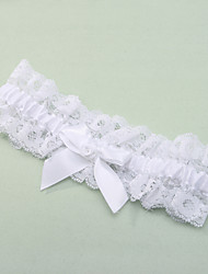 cheap -Garter Lace Polyester Bowknot Lace White Wedding Accessories Beautiful