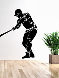 cheap -4122 Sport Wall Decor Baseball Player Wall Sticker Living Room Home Decoration PVC Removable