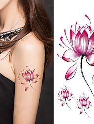 Недорогие -Хэллоуин женщины цветок лотоса татуировки временные татуировки наклейки временное искусство тела татуировки водонепроницаемый