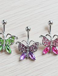 Feminino Bijuteria de Corpo Piercing de Umbigo Cristal Zircão Zircônia Cubica imitação de diamante Original Moda Jóias Arco-Íris Jóias