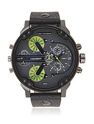 Masculino Relógio Militar Quartzo Relógio Casual Couro Banda Preta Marrom Preto Marron
