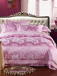 cheap -Pink Luxury Silk Cotton Blend Duvet Cover Sets Queen King Size Bedding Set