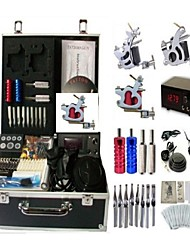cheap -Tattoo Machine Professional Tattoo Kit 3 steel machine liner & shader High Quality LCD power supply 2 x stainless steel grip 2 x aluminum