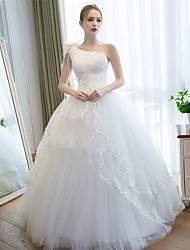 cheap -Ball Gown One Shoulder Floor Length Satin Tulle Custom Wedding Dresses with Appliques Lace Flower by LAN TING Express