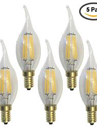 preiswerte -KWB 5 Stück 600 lm E14 LED Glühlampen C35 6 Leds COB Wasserfest Dekorativ Warmes Weiß Wechselstrom 220-240V