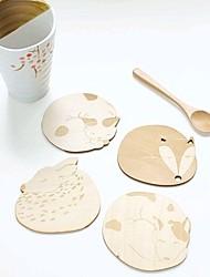 economico -cute animale cava scolpita coasters tazza mug negozio pad tavolo da bar di tè tazza di caffè in legno mat (casuale)