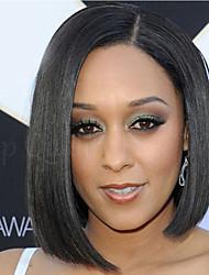 abordables -Pelucas sintéticas Recto Pelo sintético Negro Peluca Mujer Corta Sin Tapa