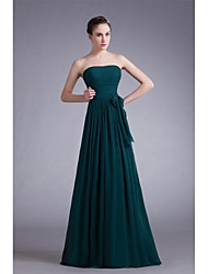 A-Line Strapless Floor Length Chiffon Formal Evening Dress with Bow(s) Draping by XFLS