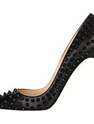baratos -Mulheres Sapatos Courino Salto Agulha Tachas Preto / Casamento / Festas & Noite / Festas & Noite