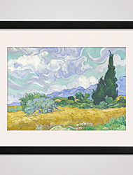 cheap -Framed Wheat Field with Cypresses by Van Gogh  40x50cm Modern Canvas Print Art for Wall Decoration Ready To Hang