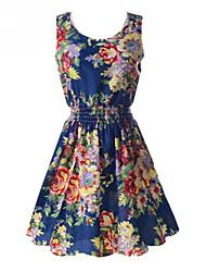 ZAY Women's Elegant Printing Sleeveless Waisted  Dress