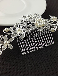 cheap -Women's Crystal Imitation Pearl Silver Imitation Diamond Hair Comb, Floral Elegant & Luxurious Silver