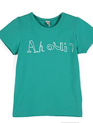 billige -Drenge T-shirt Daglig Geometrisk, Bomuld Sommer Kortærmet Grøn