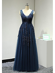 A-Line V-neck Floor Length Lace Tulle Formal Evening Dress with Beading Appliques Sash / Ribbon by DRRS