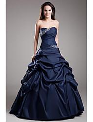 cheap -Ball Gown Strapless Floor Length Taffeta Formal Evening Dress with Beading Side Draping by TS Couture®