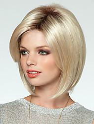 お買い得  -人工毛ウィッグ ストレート ボブスタイル・ヘアカット 密度 キャップレス 女性用 ブロンド 合成