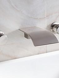 abordables -baño grifo del fregadero cascada generalizada grifo de diseño contemporáneo (níquel cepillado acabado)