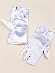 cheap -Satin Wrist Length Glove Flower Girl Gloves With Bow Elegant Style