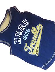 abordables -Perro Camiseta Ropa para Perro Transpirable Letra y Número Azul/Amarillo Disfraz Para mascotas