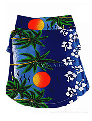 abordables -Chien Tee-shirt Vêtements pour Chien Bande dessinée Jaune Bleu Arc-en-ciel Coton Costume Pour les animaux domestiques Homme Vacances