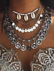 cheap -Women's Shape Tassel Bohemian Multi Layer Fashion Simple Style European Pendant Necklace Cowry Shell Alloy Pendant Necklace Party Daily