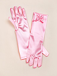 cheap -Satin Opera Length Glove Flower Girl Gloves With Bow Elegant Style